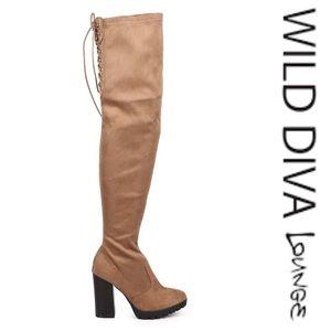 Wild Diva Suede Over The Knee Zip Boot (NWOT)